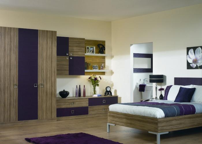 Юношеска спалня от пдч в синьо и дървесен декор